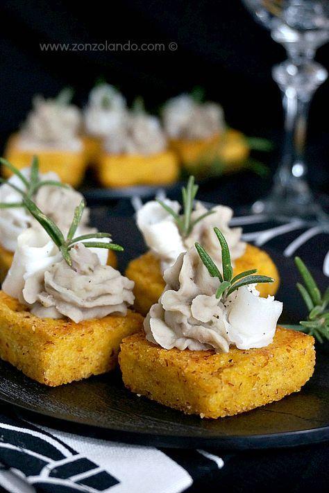Crostini di polenta con lardo e crema di fagioli - Polenta crostini with lardo and bean dip | From Zonzolando.com
