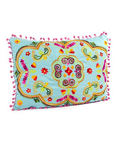 Take A Look At This Turquoise Horizontal Botanical Cushion By Karma Living  On #zulily Today