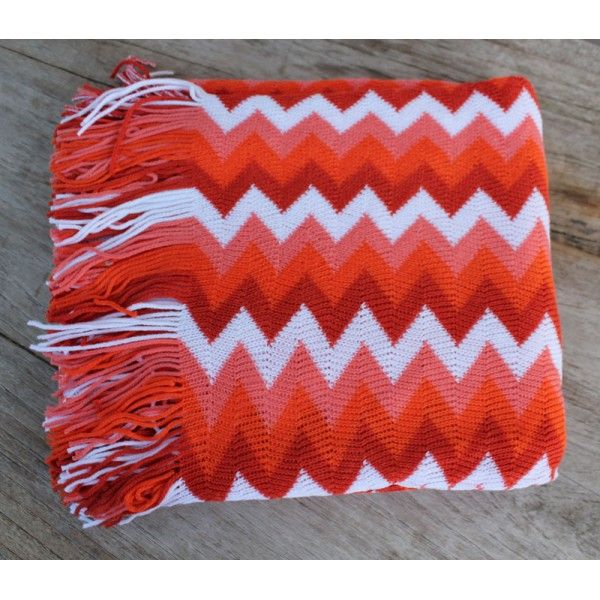 Chevron Orange Throw - Cushions & Throws Online