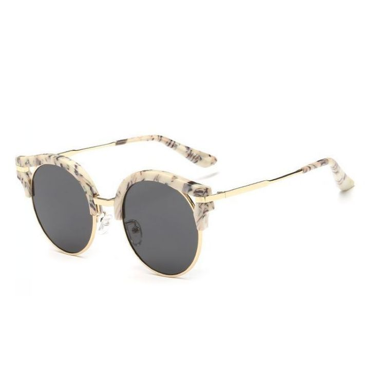 find more sunglasses information about classic round lens cat eye sunglasses gold tone metal frames polarized anti uv lens unisex vintage cats glasses
