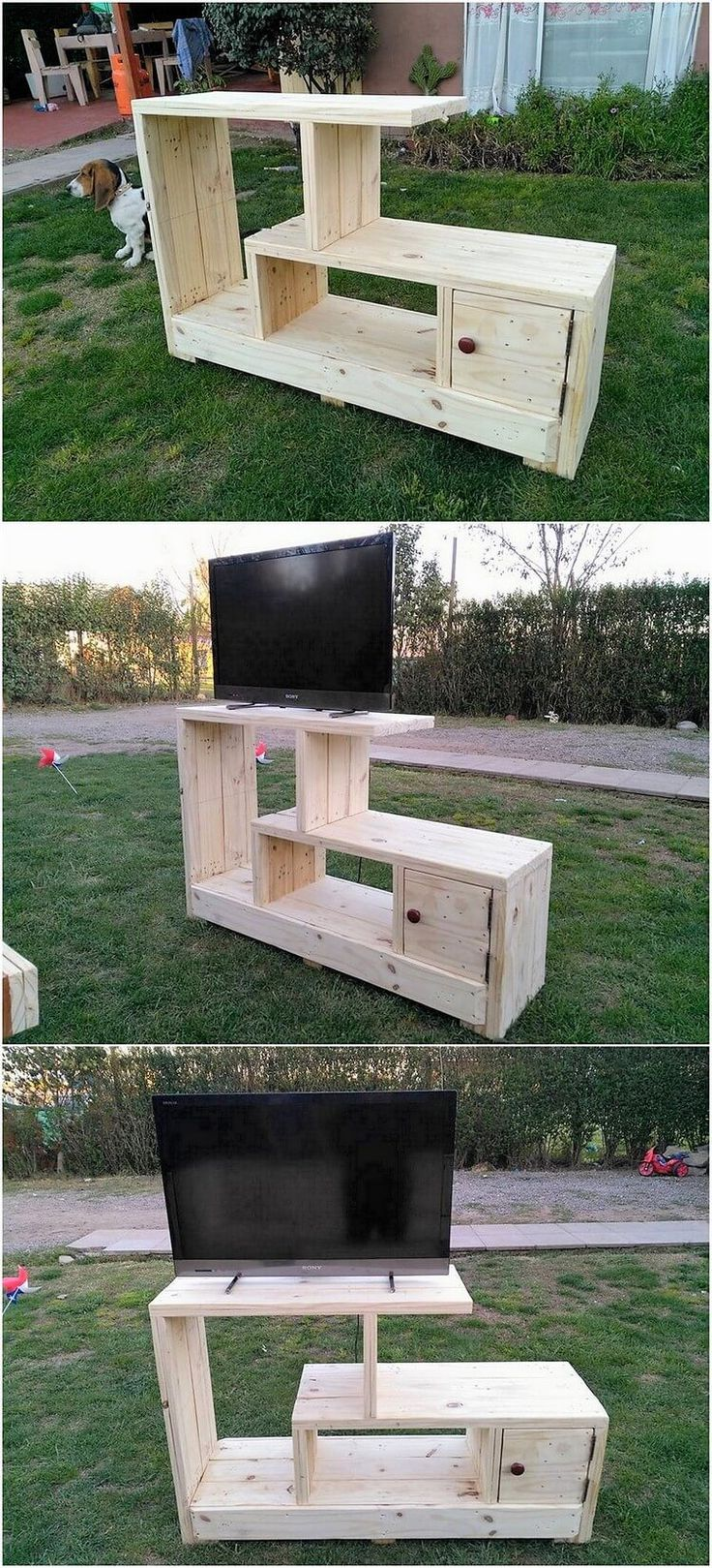 Give a look at this excellent creation of the media table TV stand furniture design where the superb use of the wood pallet is the main attraction of the whole creation project. This furniture design is added with the shelving variations that looks so classy on the whole artwork patterns.