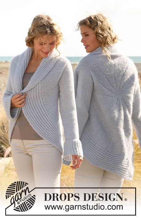 """DROPS 129-38 - Knitted DROPS circular jacket in """"Alpaca"""" and """"Vivaldi"""". Size: S to XXXL. - Free pattern by DROPS Design"""