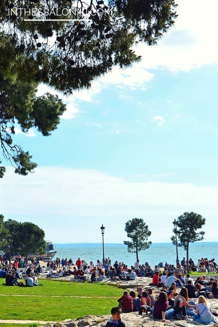 ● On a very warm spring day around the White Tower, Thessaloniki - Greece. April 1st 2015.