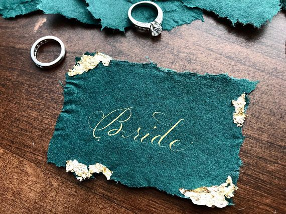 Other Colors Available Gold Foil Flake Wedding Place Card with Modern Calligraphy