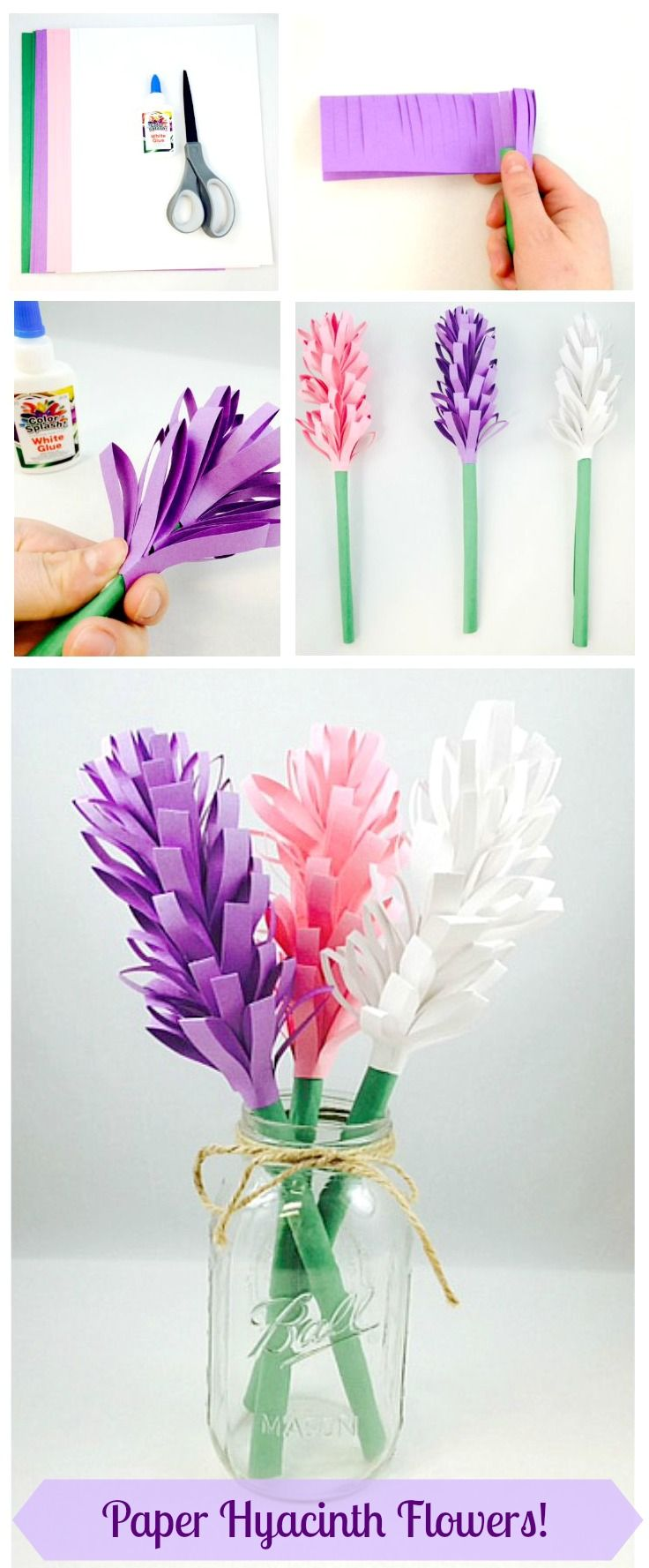 Easy Paper Hyacinth Flowers! Three materials needed for this fun Spring craft project: construction paper, scissors, and glue! We recommend our Sunworks Groundwood Construction Paper (PE1253) - it folds, scores, and curls just like more expensive brands!: