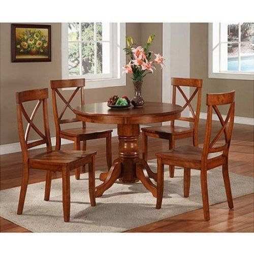 Pedestal Dining Set 4 Chairs Round Table Wood Kitchen Furniture Home Brown Gift #PedestalDiningSet #Traditional