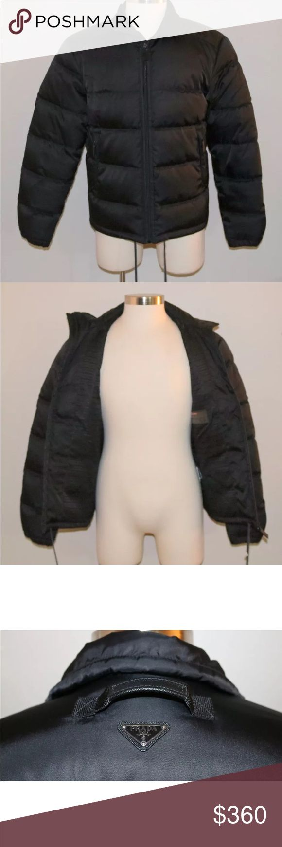 Prada men puffer coat Brand: Prada Size: Euro 52 / 42 US Material: 100% Nylon Color(s): Black Down Leather trim   Additional Information: This coat is in great condition without issues. This listing is for the jacket only. All questions are welcomed! Thank you for viewing this item and please check our over 1000 other suits, items, and acce Prada Jackets & Coats Puffers