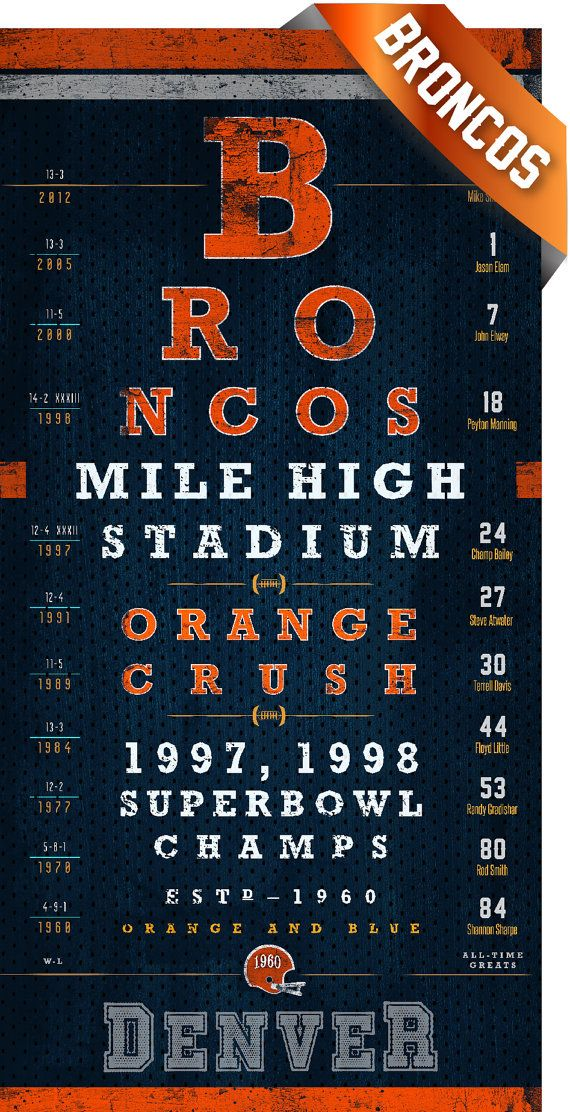 Denver Broncos  Mile High Club Eye Chart  Perfect by RetroLeague, $26.50