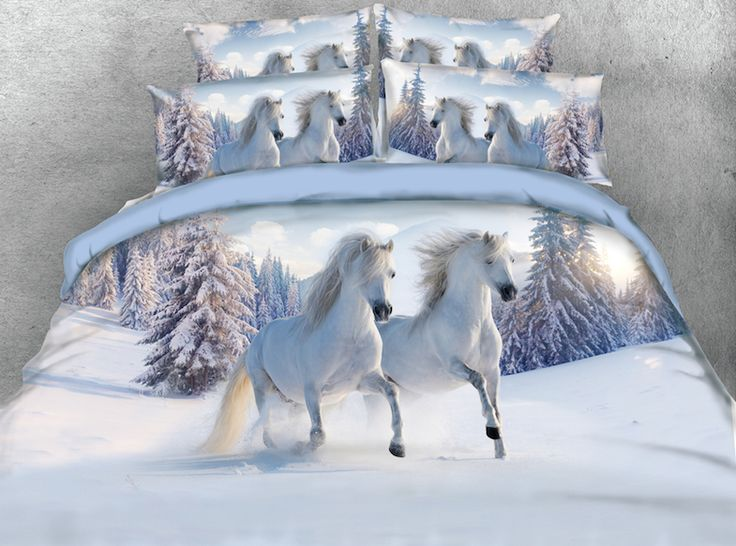 Cheap king size, Buy Quality bedding set directly from China comforter bedding sets Suppliers: 3D Print Comforter Bedding Sets Twin Full Queen Super Cal King Size Bed Covers Bedclothes Gallop White Horses Animal Adult Home