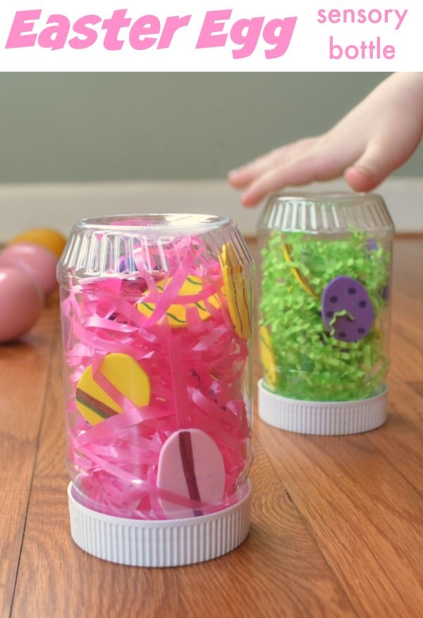 Easter sensory bottle! Easy discovery bottle to make for your little one.