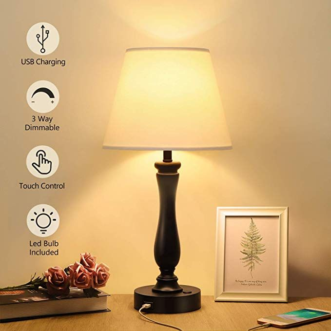 Touch Control Table Lamp Dimmable Bedside Lamp With Usb Charging Port Boncoo Nightstand Lamp Resin Table Bedside Lamps With Usb Modern Desk Lamp Bedside Lamp