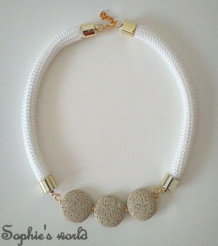 statement κολιέ με λευκό ναυτικό κορδόνι και ημιπολίτιμους λίθους Λάβας #necklace #statement #unique #handmade #lava #semiprecious #white  https://www.facebook.com/SophiesworldHandmade/