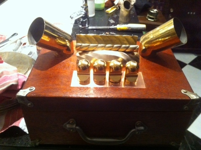 The beginnings of iPhonograph Portasound from found objects.