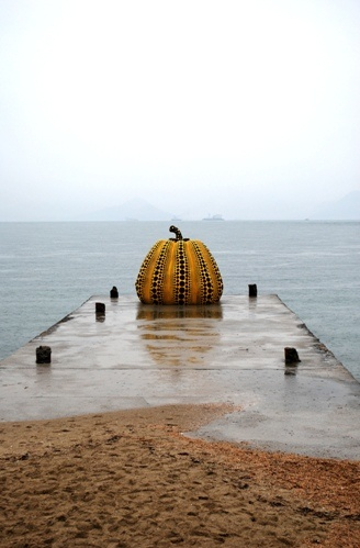 The iconic pumpkin by Yayoi Kusama on Naoshima, an island art mecca in the Seto Insland Sea.