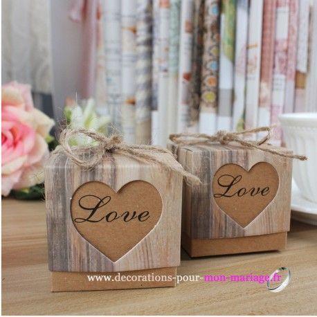 Belle nouveautés contenant dragées mariage baptême toutes fêtes nature pour cette boite dragées coeur kraft love à moins de 1 euros !!!Aspect bois
