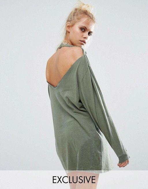 Milk It | Рваная oversize-футболка с открытой спиной и длинными рукавами MilkIt Vintage