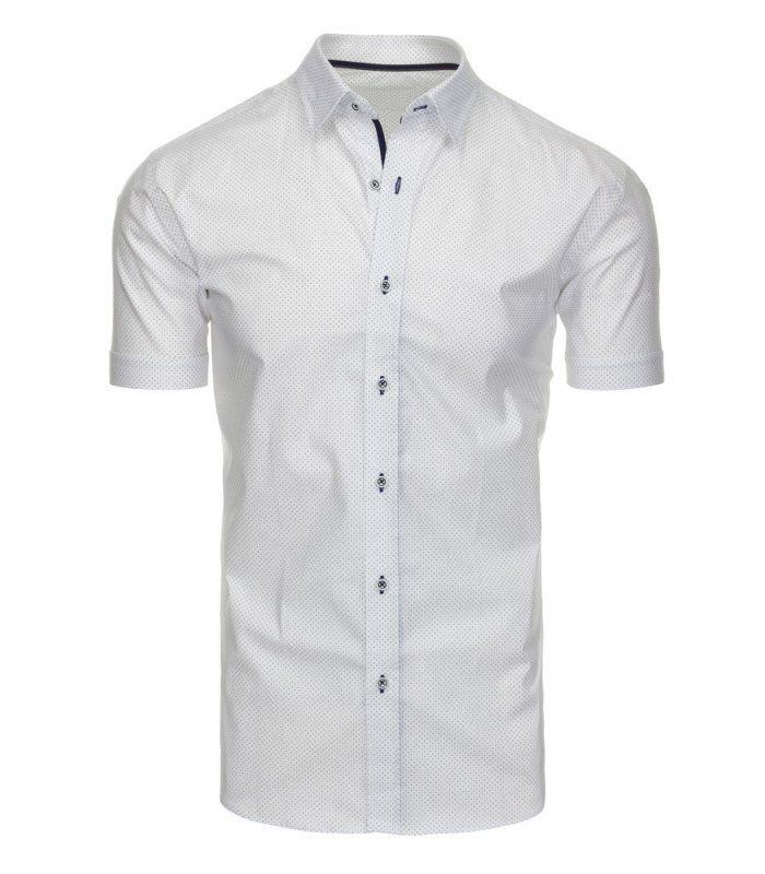 Biela vzorovaná elegantná košela s krátkymi rukávmi