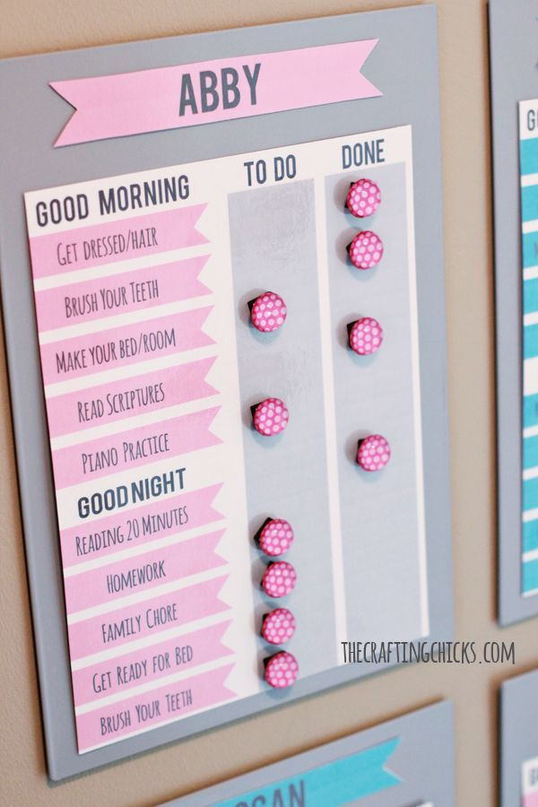 Ikea First :59 & Morning Motivation Solution | #FreePrintable chore charts in pink and blue. Get more #freeprintables at http://pinterest.com/hre/