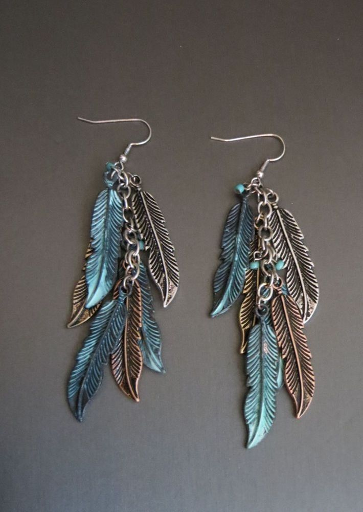 BACK IN STOCK! Cowgirl Bling Gypsy BOHO FEATHER EARRINGS Copper Silver Gold tone metal LOVE!! #davinci #earrings