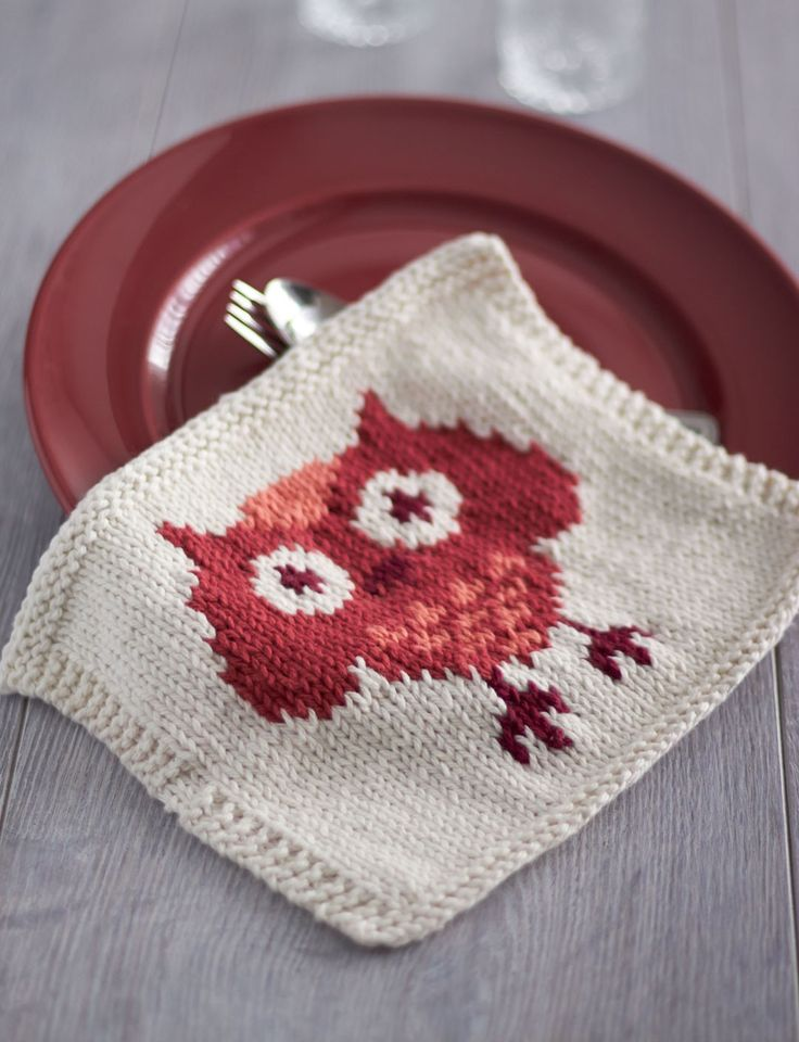 Yarnspirations.com - Lily Owl Dishcloth - Patterns  | Yarnspirations