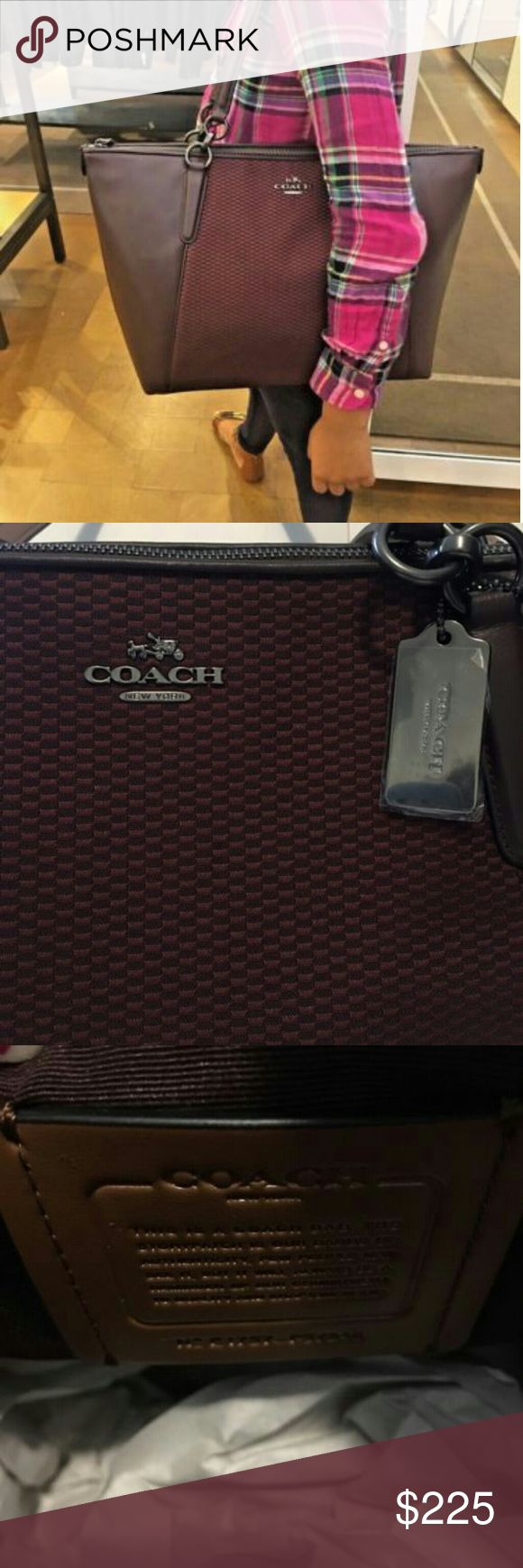 "Coach Legacy Ava Tote Oxblood Jacquard NWT + Gift Leather and Jacquard Zip-top closure Outside large slip pocketDimensions are 12.5"" L x 9.75"" H x 5"" DDouble handles have a 9"" drop Gift receipt enclosed Ships priority via USPS❤❤❤❤! Coach New York Bags Totes"