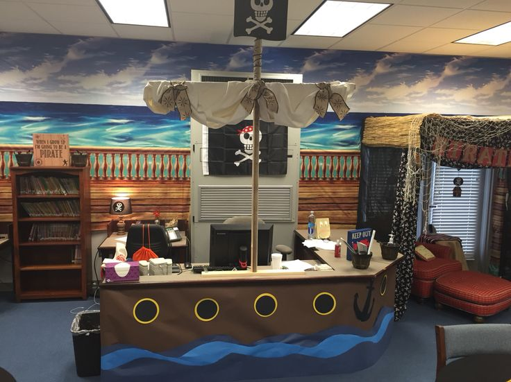 Pirate themed library-circulation desk transformed into pirate ship complete with sail & port holes!
