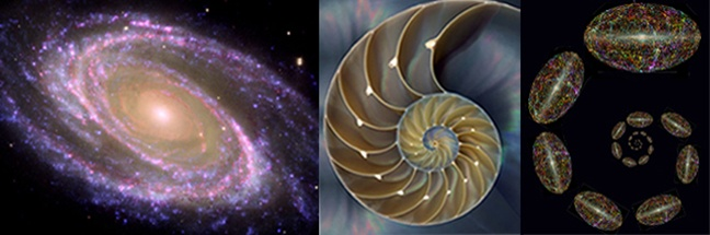 The symmetry of the cosmos is based on the repetition of patterns found throughout nature, from sea shells to spiral galaxies. For example, snail shells, sea shells, vortices, the cochlear nucleus of the inner ear, etc., show similar repeating patterns around an eye. The patterns intrinsic to the shell of a snail are replicated repeatedly in nature and typify the structure of a cyclone and the Milky Way galaxy and every spiral galaxy so far observed.