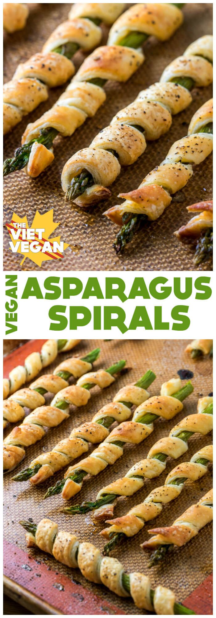 A simple soy milk wash with some cracked salt and pepper makes these quick, vegan asparagus spirals seem a lot more elegant than they actually are.