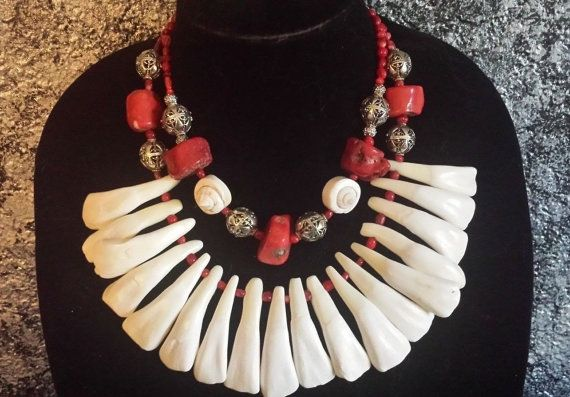 Tooth Teeth Coral Statement Necklace Pagan by KATROXWEARATTITUDE