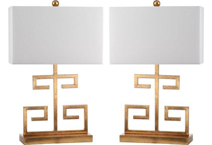Greek Key Table Lamp Set, Bronze