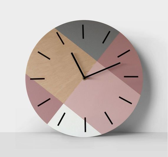 Scandi Wall Clock With Pastel Colors Minimalist Wooden Clock Etsy In 2020 Unique Clocks Contemporary Wall Clock Minimalist Clocks
