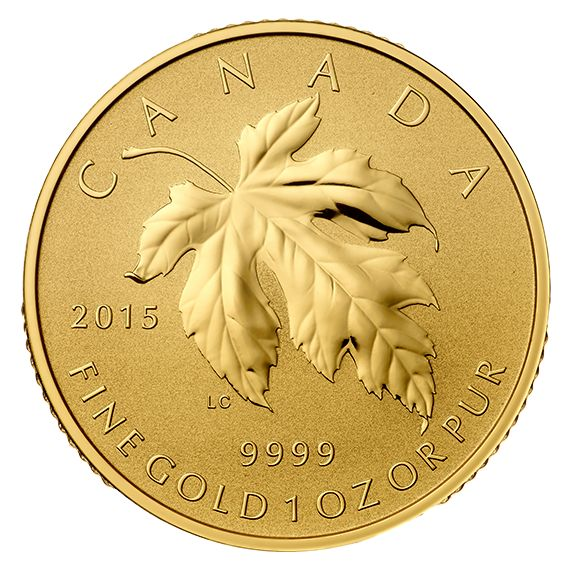 2015 Canada 1 oz Pure Gold Fractional coin - Maple Leaf