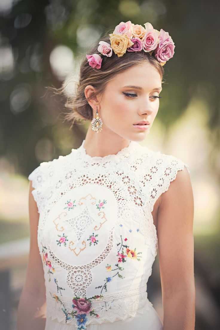 Floral Crown Wedding Hairstyle Inspiration