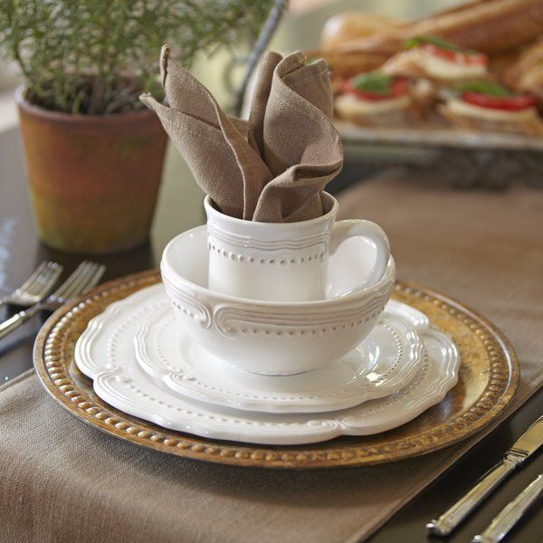 Classic white dinnerware offers flexible style for any occasion. Whether you're prepping for a wedding reception, throwing a dinner party, or hosting a backyard soiree, this must-have set complements any centerpieces or linens you pair with it.