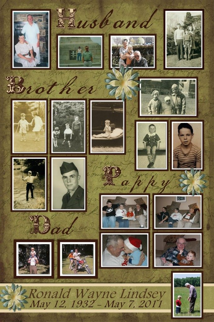 Memory Board Layout Great idea for Father's funeral