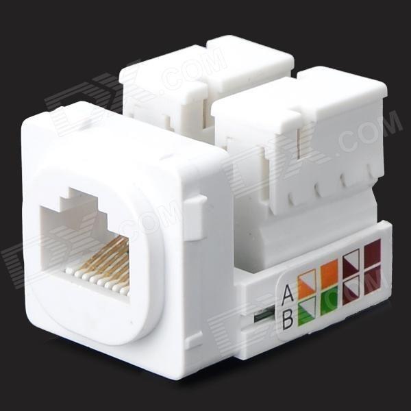 Network Interface Network Socket Module Round head RJ45 Socket Computer Module - White + Green