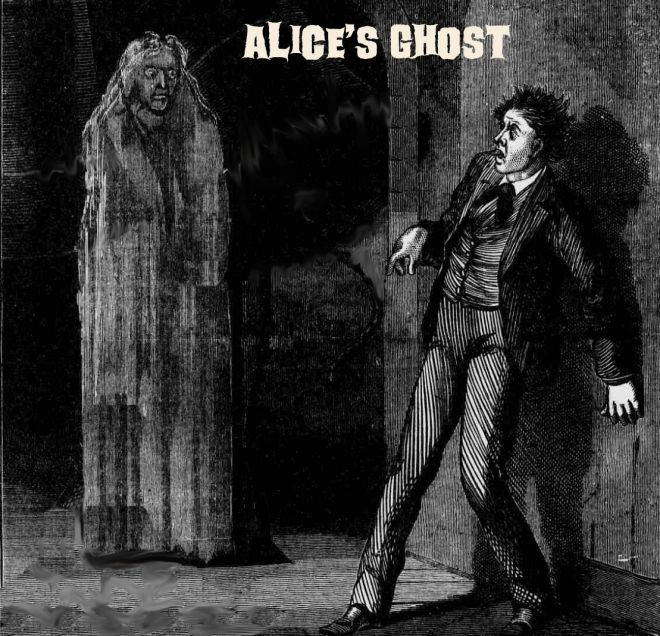 "Alice's ghost by PJ Hodge ""I started up with apprehension. The light emitted a dim, sepulchral glow. Oh, night-bound horror! Is this flesh or—  A figure, dressed in white, came gliding towards me from the foot of the bed. I was prevented from seeing the face, but I knew from the form that it was the ghost of Alice."" Read the story here: http://freakyfolktales.wordpress.com/"