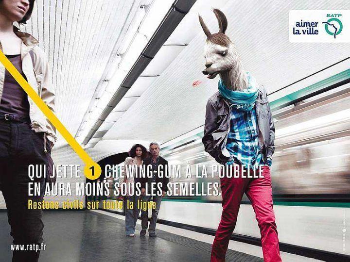 Affiches de la Ratp avec des animaux contre les inciviltés