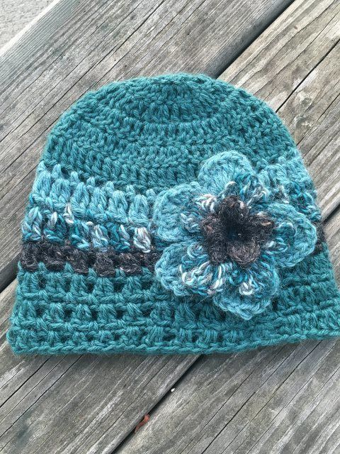 Alpaca Hat with Flower - Teal and Grey, $35.00