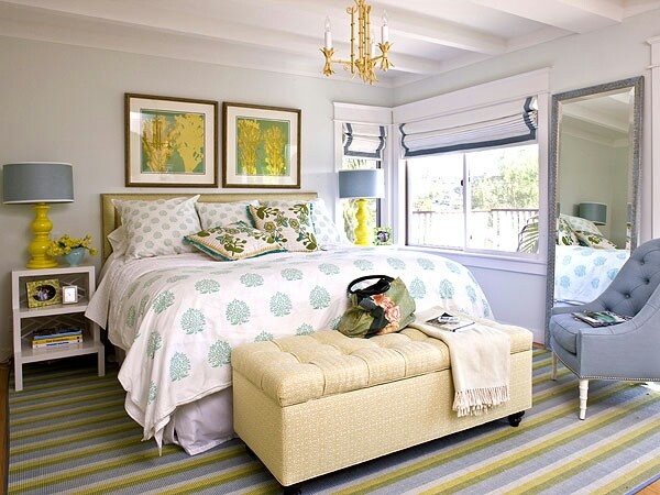 Eclectic Style Yellow, Grays, Greens Bedroom