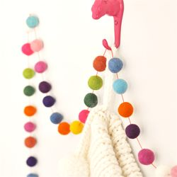 make a colorful felted ball garland for the holidays, or just because