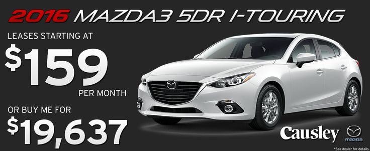 2016 Mazda3 5DR I-Touring Hatchback.  Leases starting at $159 per month or buy for $19,637 at Causley Mazda!  www.causleymazda.com