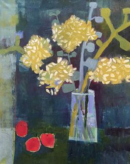 """Annie O'Brien Gonzales-Contemporary Abstract Still Life Art Painting """"Night Blooms"""" by Santa Fe Artist Annie O'Brien Gonzales"""