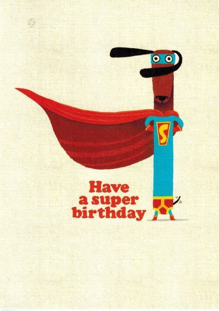 "Roger la Borde - Dachshund Birthday Cards Set of 6 ""Super Dog HD"". SET of 6 cards with envelopes 