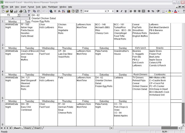 meal planning calender