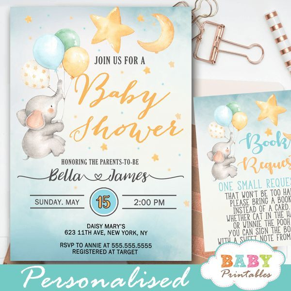 Moon And Stars Elephant Baby Shower Invites D426 Baby Printables Star Baby Shower Invitations Elephant Baby Shower Invitations Baby Shower Invitations