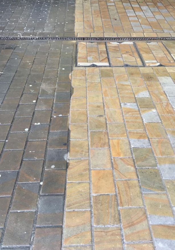 Power cleaning brick commercial driveway
