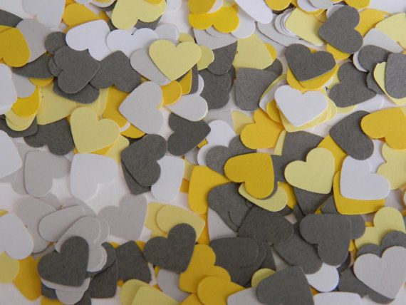 Paper Confetti 300 Paper Heart Confetti Yellow and Gray Wedding Confetti Bridal Shower Decor Party Decor Reception Decor Custom Colors