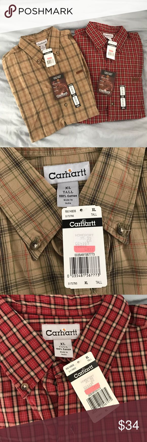 Two Men's Carhartt Button Downs Both are XL tall long sleeve work shirts. One is red, cream, and black. The other is tan, brown, and olive. Neither has been worn - all original tags attached. Originally $36 each. Carhartt Shirts Casual Button Down Shirts