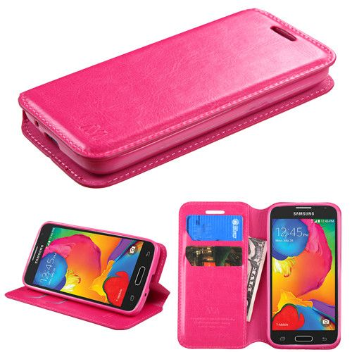 Book-Style Samsung Galaxy Avant Leather Wallet Case - Hot Pink